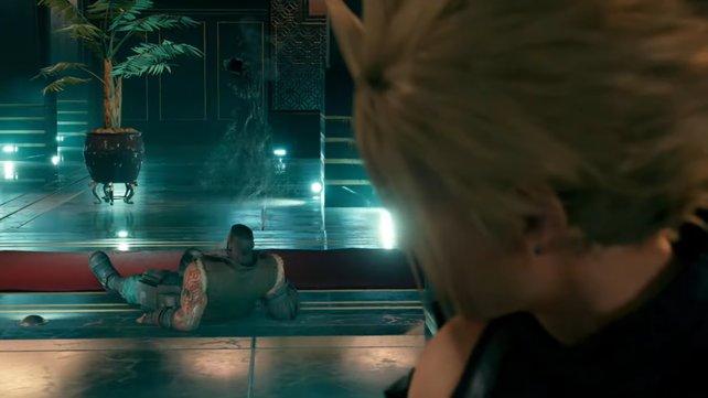 Als Cloud Sephiroth verfolgt, stellt er verblüfft fest, dass Barret noch am Leben ist und dass es ihm tatsächlich gut geht.