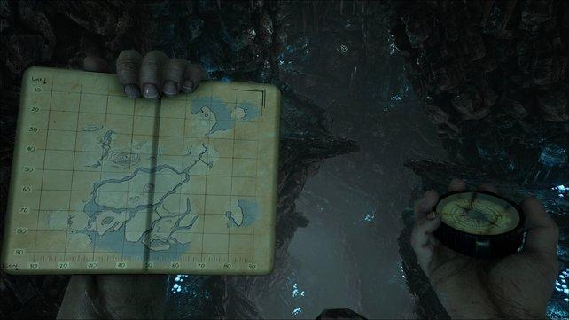 Eine Karte hilft euch bei der Orientierung auf der Insel.