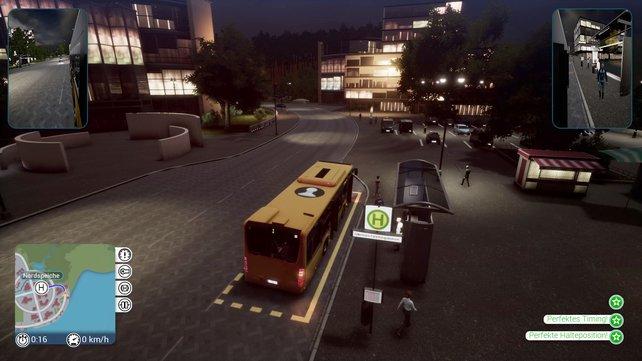 Auf selbsterstellten Routen fahrt ihr alle Haltestellen ab, um Passagiere zu befördern.