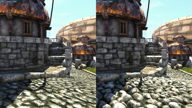 Ohne Tessellation (links) sind die Steinoberflächen flach. Mit Tessellation (rechts) erhalten sie detaillierte Strukturen.