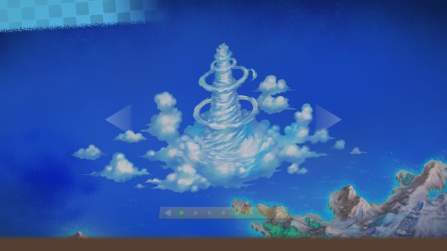 Der Himmelsturm ragt bis über die Wolken