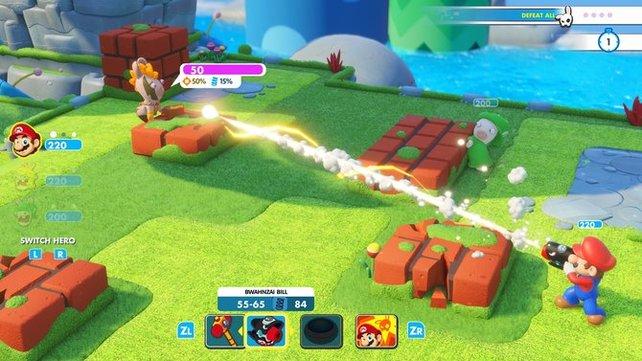 In Mario + Rabbids Kingdom Battle entscheiden die Waffen über Sieg und Niederlage.