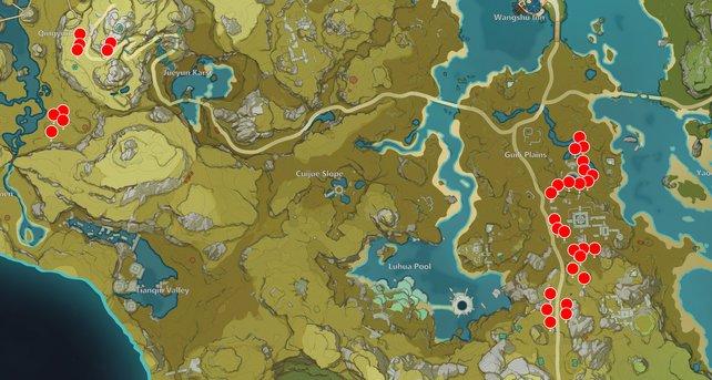 Die Karte zeigt euch einige Dürrsandholz-Fundorte in Genshin Impact.