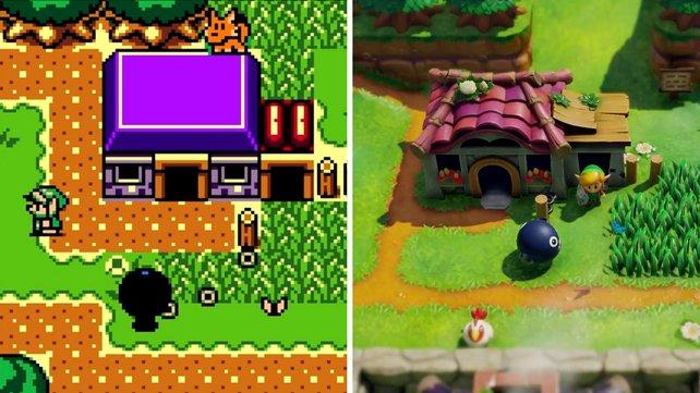 Ein Vergleichsbild: Links ist Link's Awakening DX und rechts das Remake für Nintendo Switch.