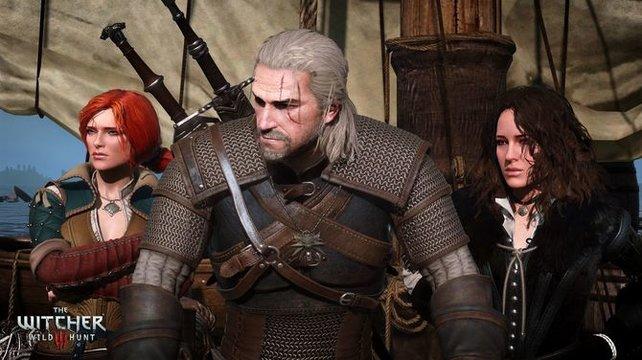 Geralt von Riva mit den beiden Magierinnen Triss Merigold und Yennefer von Vengerberg.