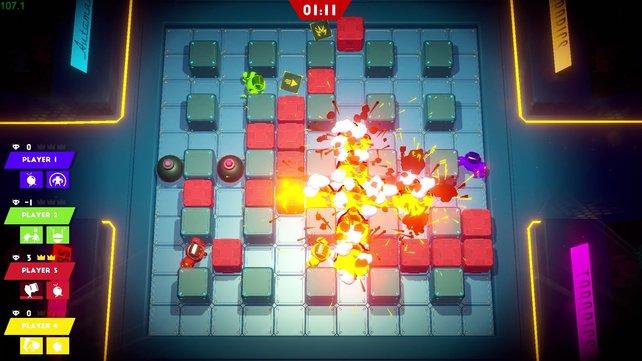 In Bomb Bots Arena duelliert ihr euch mit Robotern Online oder Lokal mit anderen Spielern.