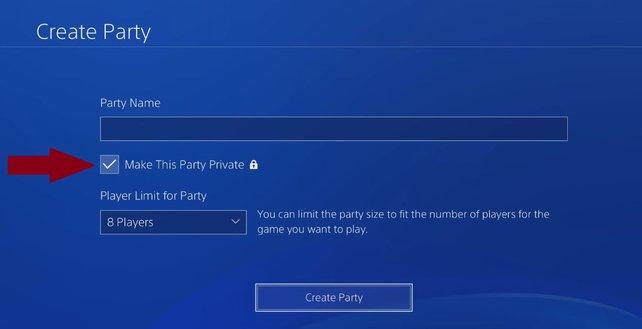 Hier legt ihr fest, ob die PS4-Party privat oder öffentlich sein soll.