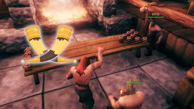 Valheim-Spieler treffen sich zu einer Runde Bierpong im Langhaus. (Bild: Iron Gate Studios//Getty Images/Katsapura)