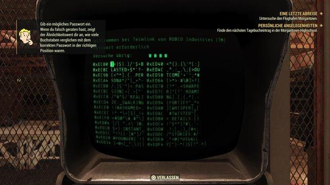 Oben links auf dem Bild seht ihr die offizielle Erklärung aus Fallout 76 zum Hacken von Terminals.