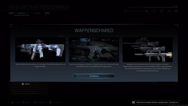 Neu in Modern Warfare: Aufsätze werden komplexer und über den Waffenschmied angebracht.