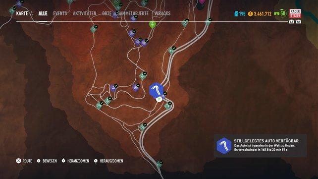 Ganz im Westen der Karte könnt ihr einfach zur Tankstelle reisen, die hier steht. Der Ford Roadster steht hinter der Tankstelle.