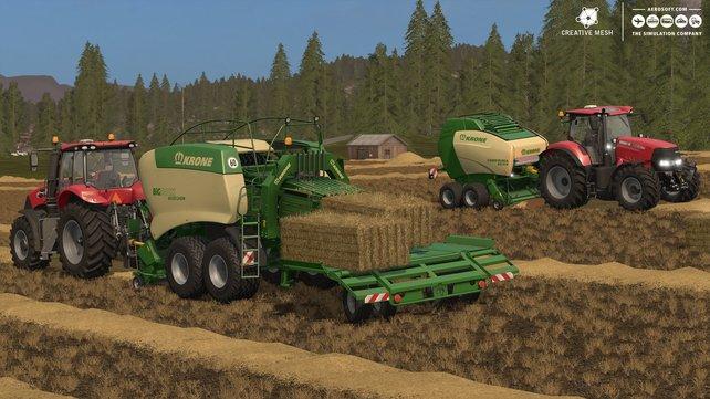 Für den Landwirtschafts-Simulator erscheinen immer wieder neue Add-Ons wie hier die Strohbergung.