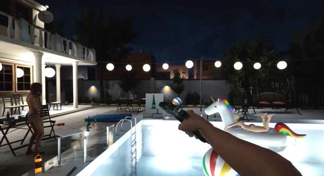 In den Pool schießen, um Leute zu beeindrucken - was man halt so macht als Drogen-Dealer.