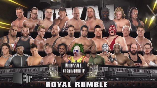 """Mein Lieblingskampf, das """"Royale Rumble""""-Match, funktioniert ein bisschen wie Battle Royale: 30 Wrestler kämpfen darum, wer als letzter im Ring bleibt und gewinnt."""