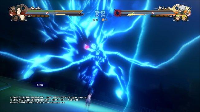 Sasuke zieht für sein Kirin die Kraft aus Gewitterwolken und wandelt sie in Chakra um.