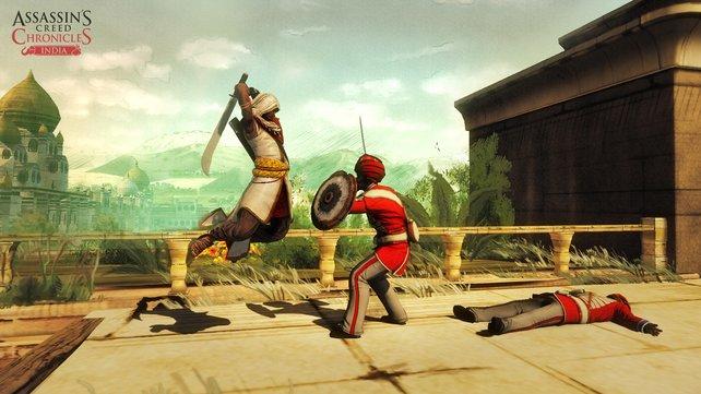 Abaaz Mir im Anflug auf seine Widersacher: Solche Spezialattacken lernen die Assassinen im Spielverlauf dazu.