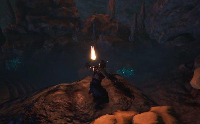 Selbst im Dunkeln ist Leuchtschleim gut zu sehen.