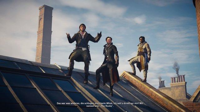 Das Trio Infernal: Jacob, Evie und euer neuer Freund Henry.
