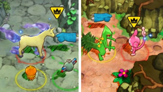 So sehen Galloppa und Griffel als Shiny in Pokémon Mystery Dungeon DX aus.