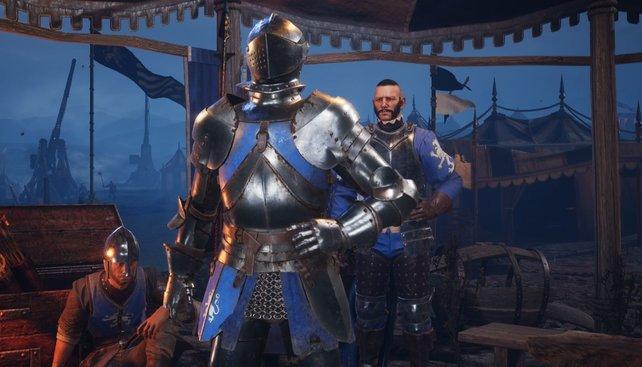 Der Ritter trägt eine starke Panzerung.