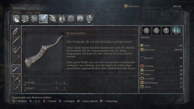 Der Bestienschlitzer erinnert ein klein wenig an Simon Belmonts Kettenschwert