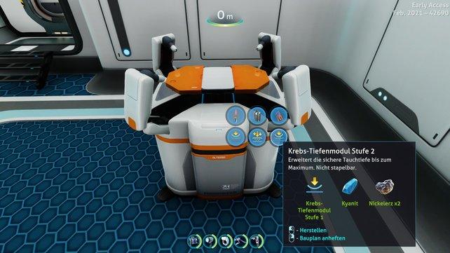 Die besten Tiefenmodule kann man an der Modifizierungsstation fertigen (Bild: Subnautica: Below Zero | Unknown Worlds Entertainment)