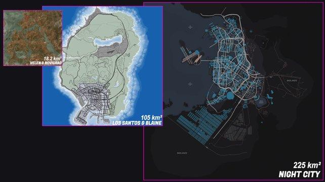 Der YouTuber EdgeRunner Cold verglich die Größe der Spielwelt von Cyberpunk 2077 (Night City) mit der von GTA 5 (Los Santos) und The Witcher 3 (Velen und Novigrad). Quelle: EdgeRunner Cold.