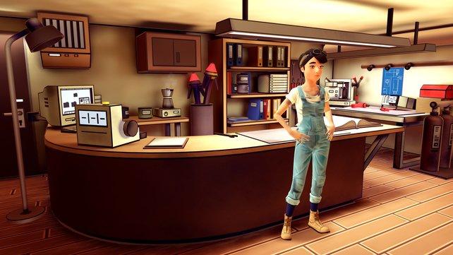 Protagonistin Amelia in ihrer Werkstatt auf Granaria