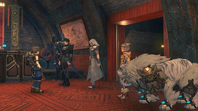 Im Laufe der Geschichte könnt ihr auch andere Charaktere als Gruppenanführer wählen und so deren Fähigkeiten nutzen. Katzenmensch Nia kann beispielsweise auf ihrer Klinge Dromarch reiten.