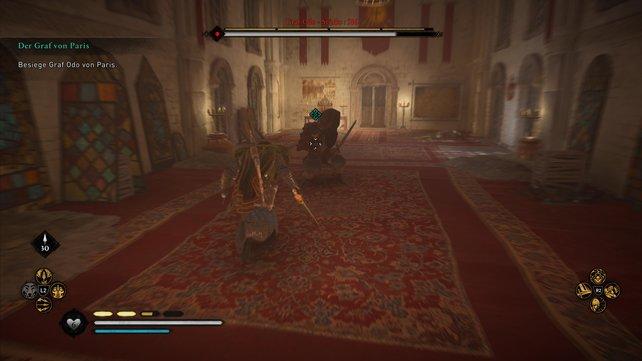 Da Odo mit einem Großschwert kämpft und dabei einen schween Schild trägt, ist er ein gefährlicher Gegner.