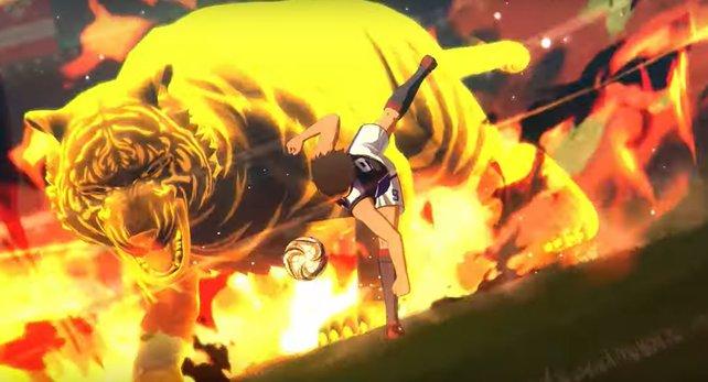 """Kojiro Hyuga mit seinem berüchtigten """"Tigerschuss""""."""