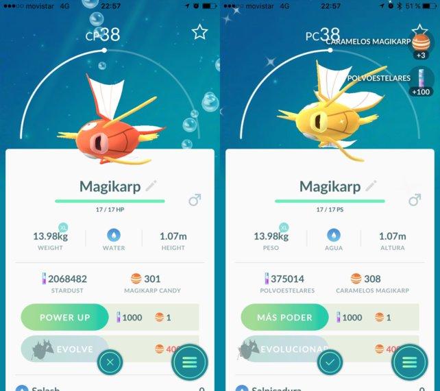 Abgesehen von der Farbe ist kein Unterschied zwischen den Karpadors auszumachen. (Quelle: Pokémon GO Hub)