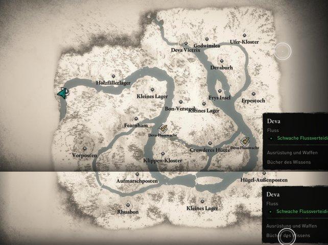 Komplett aufgedeckte Karte der Flussraub-Region Deva mit allen sichtbaren Orten.