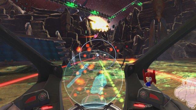 Super Stardust Ultra VR: Der Wechsel hin zur Ego-Perspektive ist etwas ungewohnt, funktioniert spielerisch aber erstaunlich gut.