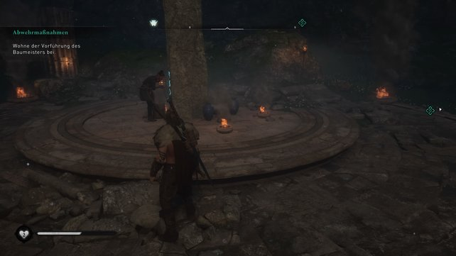 Trefft euch auf der südlichen Insel mit dem Braumeister und stellt dessen blaue Krüge um den Runenstein herum ab.