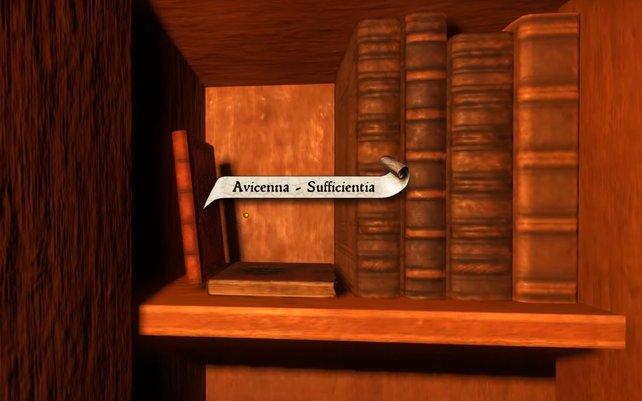 Das Sufficientia von Avicenna steht im verbotenen Teil der Klosterbibliothek. Für Libri Prohibiti in KCD müsst ihr es auftreiben.