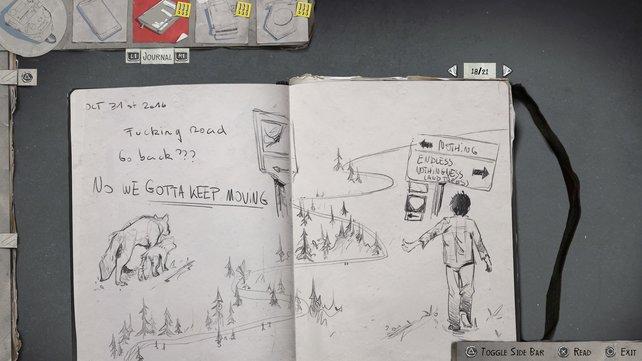 Sean ist ein begabter Zeichner. Er verarbeitet seine Emotionen im Spiel durch die bildnerische Erfassung wichtiger Momente.