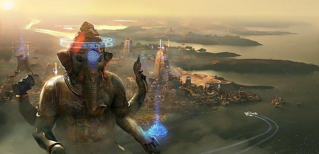 Eine riesige Statue von Ganesha ziert die gleichnamige Stadt.