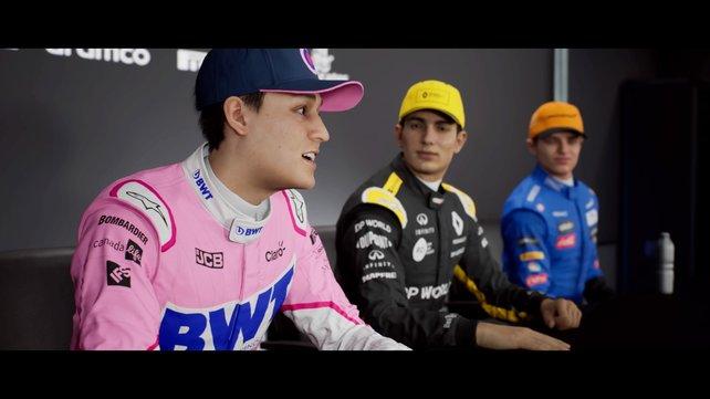 """Der Storymodus """"Braking Point"""" erzählt die Geschichte von F1-Rookie Aiden Jackson (links im Bild)."""