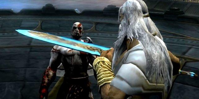 Zeus fühlt sich von der Macht Kratos' bedroht. In God of War 2 kommt es zur Konfrontation.