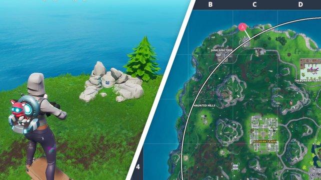 Durchsucht die Steinformation am nördlichsten Punkt der Karte, um Fortbyte #32 aufzusammeln.