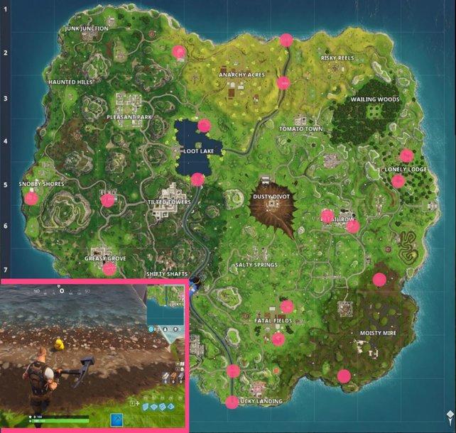 Im Südosten der Karte findet ihr genügend Gummienten für die Herausforderung aus Woche 3.