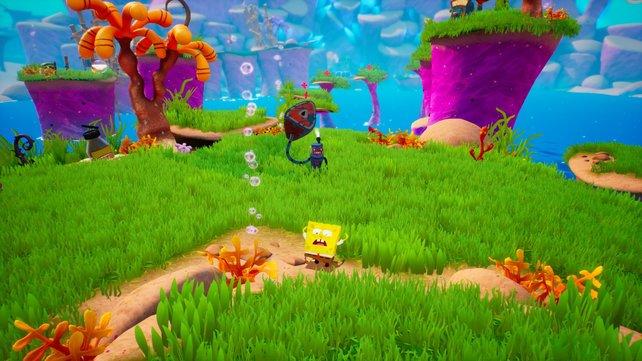 SpongeBob gegen die Roboter. Neben diesem Hammer-Bot (ein Wortspiel, weil Ham im Englischen Schinken bedeutet) gibt es auch Robo-Hunde, Untertassen und Blitzbeschwörer.