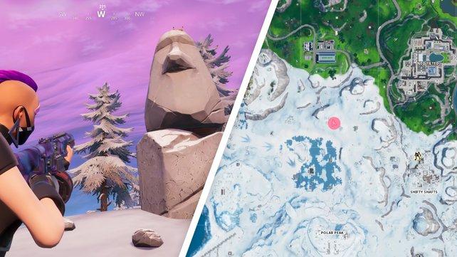 Die Steinkopfstatue steht im Schneegebiet der Karte. Hier hat sich kaum etwas verändert.