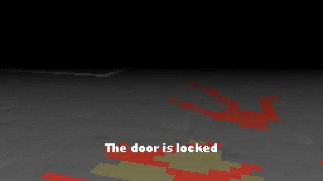 Der rote Pfeil zeigt den Weg zum Ausgang