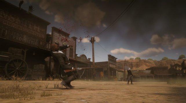 Ein etwas klassischeres Szenario: Ein Duell auf Leben und Tod zwischen Saloon und Waffenladen.