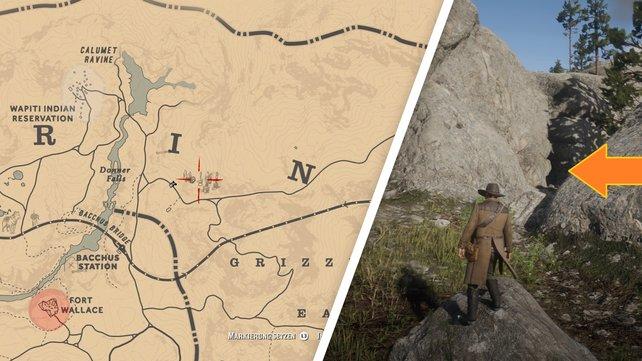 Links seht ihr den Fundort auf der Karte, rechts den Spalt, durch den ihr die Höhle betretet.