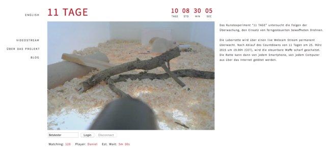 Nachtrag: Das Experiment hat begonnen, die Kamera ist aktiv.