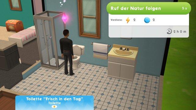Ihr müsst kein echtes Geld ausgeben, wenn ihr die Energie aufladen wollt. In Die Sims Mobile könnt ihr auch einfach auf das Klo gehen und dem Ruf der Natur folgen...