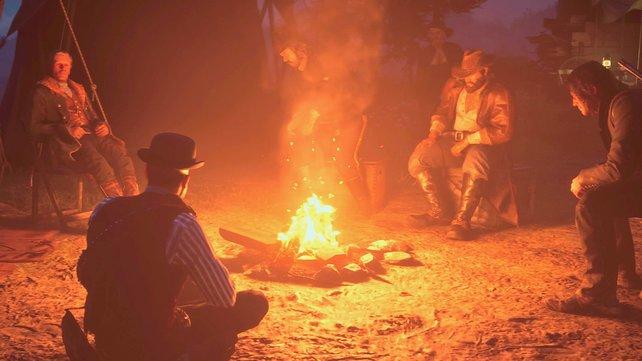 Bei Red Dead Redemption 2 werden euch einige Gefährten mit Lager-Anfragen betrauen. Nur ausruhen und das Lagerfeuer genießen ist also nicht drin.